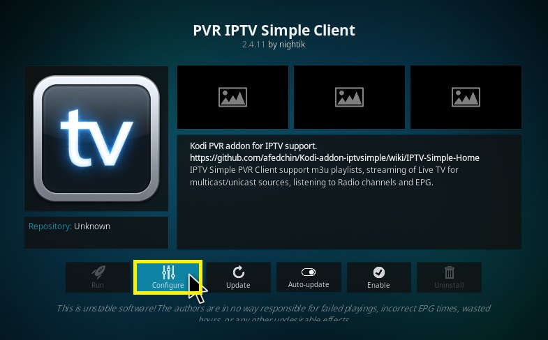 m3u playlist URL for PVR IPTV simple client kodi