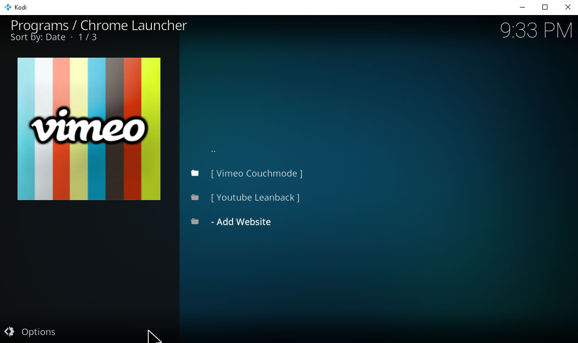 kodi chrome launcher
